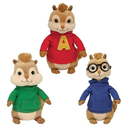 Amazon.com  Ty Alvin   The Chipmunks Beanie Baby Set of 3 Chipmunks Alvin a990e9de12cc