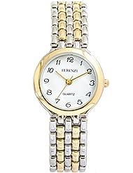 Ferenzi Women's | Two-Tone Brick Pattern Sleek Bracelet Watch | FZ14501