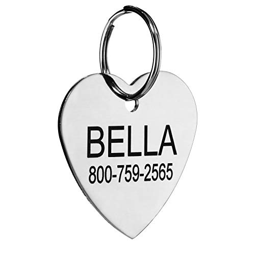 Smiles Name Tags - Providence Engraving Custom Engraved Stainless Steel Pet ID Tags - Personalized Front and Back Identification, For Large or Small Cats and Dogs, Heart, Small