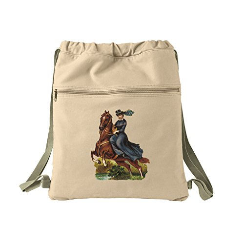 Lady Rides Her Horse Pets Animals Canvas Dyed Sack Backpack Bag by Style in Print