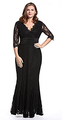 Dilanni Women's Plus Size V Neck Lace 1/2 Sleeves Long Evening Party Dresses