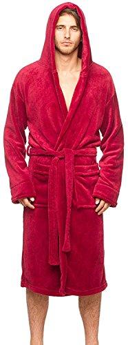 Wanted Men's Lightweight Plush Fleece Hooded Spa Robe