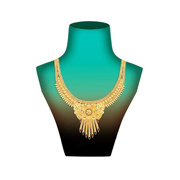 41YkWf%2BB87L Mansiyaorange Brass Gold Plated Choker Necklace Set for Women (Multicolor)