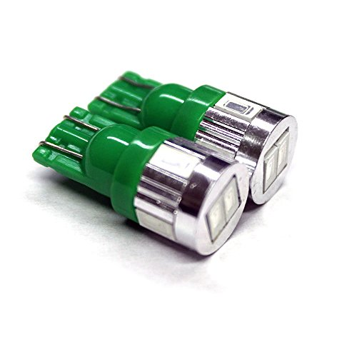 FLA 6-SMD 5630 Chip SMT T10 Wedge Light Bulbs LED Chips 168 194 W5W 2821 License Plate Interior Trunk Parking Lights (Green)