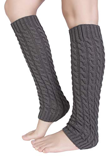 Warmers Acrylic Leg (Pareberry Women's Winter Soft Over Knee High Cable Footless Socks Knit Leg Warmers (Light Gray-Cable))