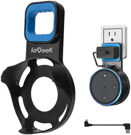 ieGeek Outlet Wall Mount Speaker Mounts Hanger Holder Stand for Dot 2nd Generation, Space-Saving Solution for Smart Home Speakers Without Messy Wires or Screws(Short Charging Cable Included), Black