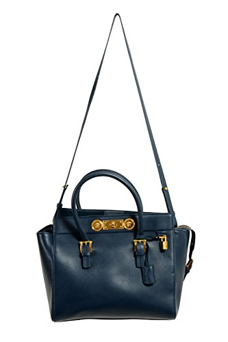 Versace Leather Navy Women's Handbag Shoulder Bag