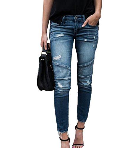 Femmes Pantalons Dcontracte Crayon Bleu Denim Jeans Skinny Stretch Boyfriend Ripped Dooxi lgant Clair Y4Hwdq4