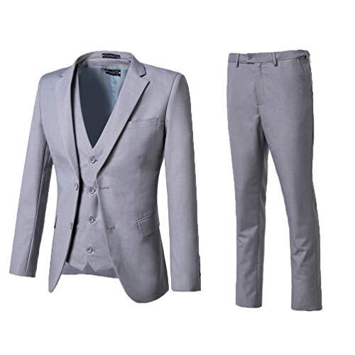 Yanlu Mens 3 Piece Suits Notch Lapel Wedding Groom Tuxedos Jacket Vest and Pants Grey