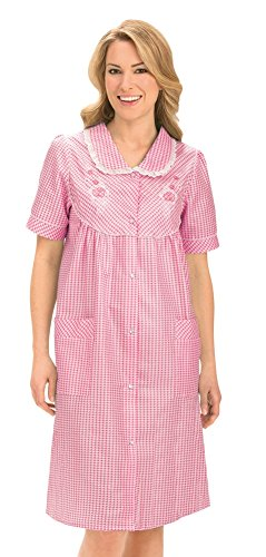 n's Floral Gingham Print Pocket Lounge Robe with Snap Front Closure and Lace Trim, Pink, Medium (Pink Trim Snap)