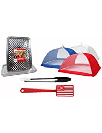 CheckOut BBQ Accessories Grill & Picnic Bundle -12+ pieces - Aluminum Foil Grill Toppers American Flag Spatula - Patriotic... save