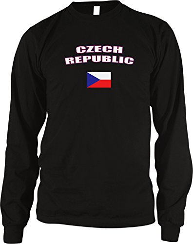 - Amdesco Czech Republic Country Flag Men's Long Sleeve Thermal Shirt, Black Medium