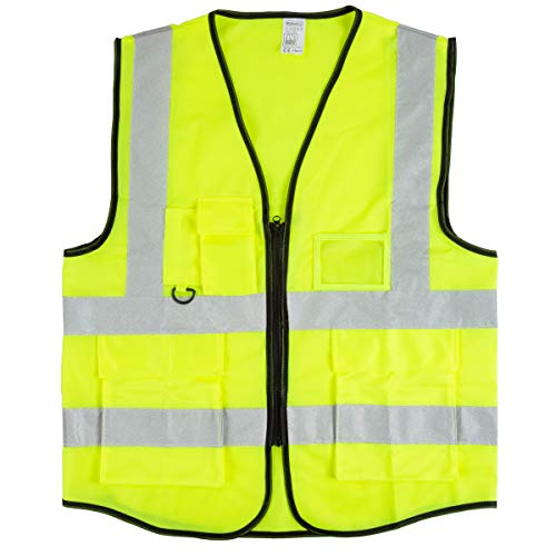 Stalwart High Visibility Reflective Vest - ANSI Standard Fluorescent Green Safety Workwear with 6 Pockets and Zippered Front (Large, X-Large)