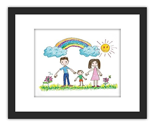 11x14 Picture Frame with Children Painting, including 3 Mats for 5x7, 8x10 or 8.5x11 Documents, Black Wood Photo Frame(Both Vertical and Horizontal Supported)