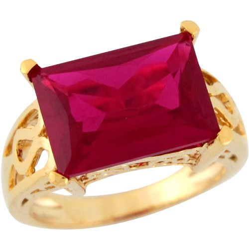14k Yellow Gold Simulated Ruby Modern Scroll Design Ladies Ring 14k Yellow Gold Modern Design