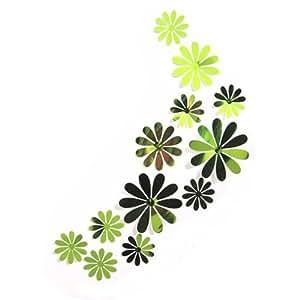 12 Unds Pegatinas de pared adhesivo decorativo flores acrilico efecto 3D color verde