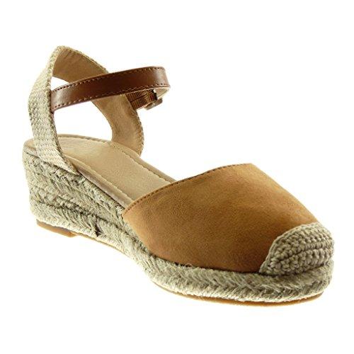 Tacco bi Materiale 5 5 Moda Intrecciato cm Mules Zeppe Scarpe Blocco Alla con Donna Angkorly a Sandali Cinturino beige Corda Caviglia 6zvSnq