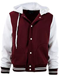 bea7b73f6e5 Mens Baseball Varsity Jacket with Detachable Hoodie