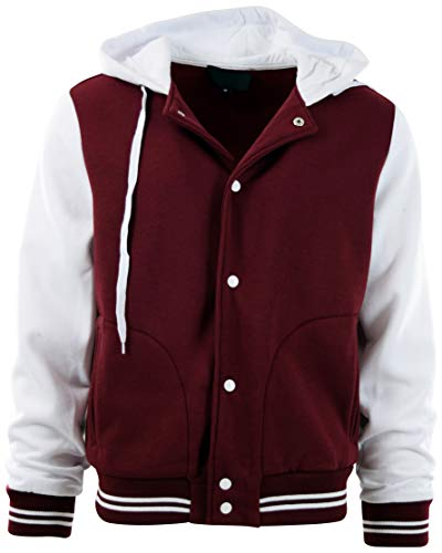 ChoiceApparel Mens Baseball Varsity Jacket with Detachable Hoodie (XL, 611-Burgundy/White)
