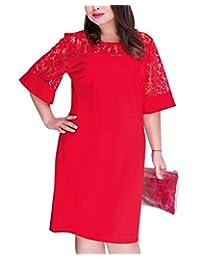 Women's Plus Size Loose Dress Patchwork Ladies Office Clothing