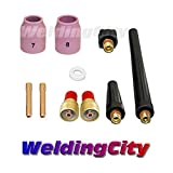 WeldingCity TIG Welding Gas Lens Accessory Kit (3/32'') Cup-Collet-Gas Lens-Gasket-Back Cap for Torch 9/20/25 T40
