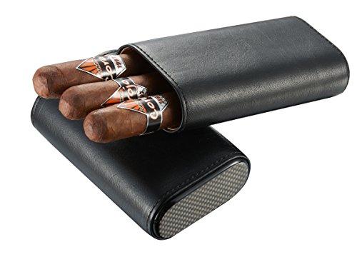 Visol Burgos Black Leather Cigar Case - Holds 3 52 Ring Gauge Cigars (Without Engraving -