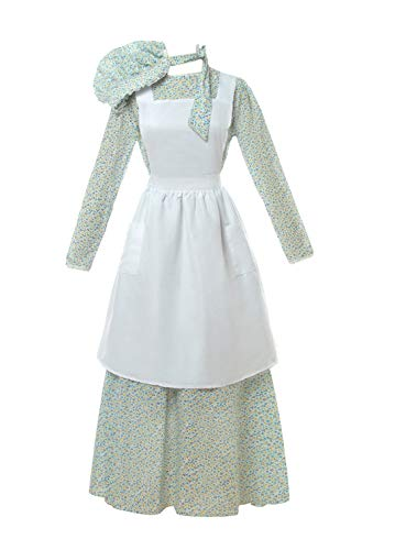 ROLECOS Pioneer Costume Dress Womens American Historical Clothing Modest Prairie Colonial Dress Blue M ()