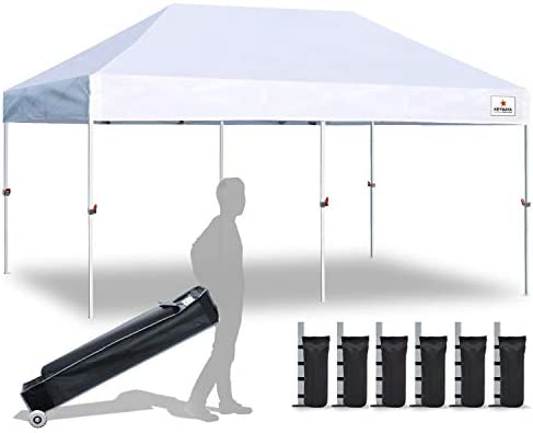 Keymaya 10×20 Ez Pop Up Canopy Tent Commercial Instant Shelter Canopies Bonus Heavy Duty Weight Bag 6-pc Pack 10×20