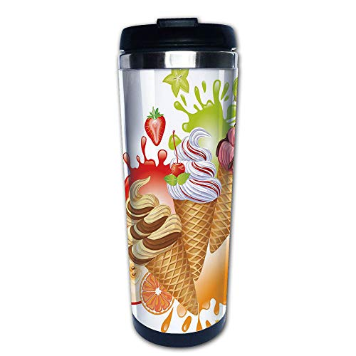 Stainless Steel Insulated Coffee Travel Mug,Summer Dessert with Peach Apricot Strawberry,Spill Proof Flip Lid Insulated Coffee cup Keeps Hot or Cold 13.6oz(400 ml) Customizable printing