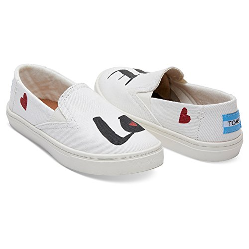 - TOMS Kids Girl's Luca (Little Kid/Big Kid) White Denim Love 6 M US Big Kid