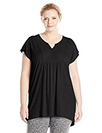 Just My Size Slub Crochet Bib Tunic Camisa para Mujer