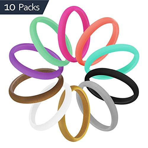 COOLOO Womens Silicone Wedding Ring, [10 Pack] Premium Wedding Bands Engagement Thin and Stackable Durable Comfortable Rubber Rings, Black White Coral Red Gold Green Silver