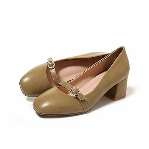 Mee Shoes Damen bequem chunky heels vierkant Pumps Khaki