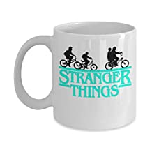 Stranger Things Bike (W) By: Trinkets & Novelty - Stranger Things Eleven Inspired 11-oz Novelty Coffee Tea Mug Cup - Perfect Gift for Stranger Things Fan
