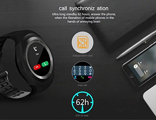 Amazon.com: BOND Y1 Smart Watchs Round Support Nano SIM &TF Card With Whatsapp And Facebook Men Women Business Smartwatch For IOS Android (BLACK): Cell ...