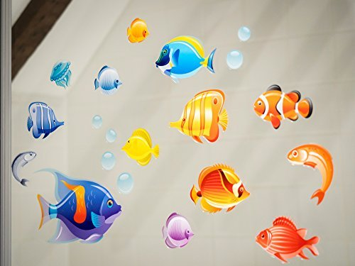 ical Fish Double-Sided Static Cling Window Stickers - Under the Sea Colourful Fish. Another product. (Small) (Fish Colourful)