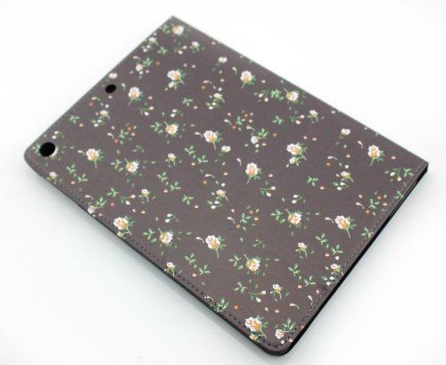 Nine States PU Leather Pastoral Stylish Small Floral Print Flip/Folio Full Body Protection Hard Cover Case for Ipad Air/ Ipad 5 with Kickstand Color Varies Black