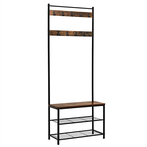 (VASAGLE Vintage Industrial Hooks, Hall Tree Entryway Shoe Bench Rack and Coat Stand, Storage Shelf Organizer, Accent Furniture with Metal Frame UHSR41BX, Rustic Brown )