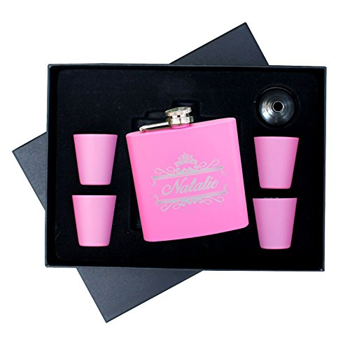 Personalized-Pink-Matte-Flask-Set-Free-Engraving