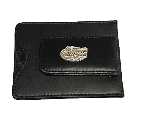 Florida Gators Leather Money Clip / Credit Card Holder Wallet with Sterling Silver Head Logo (Sterling Card Holder)