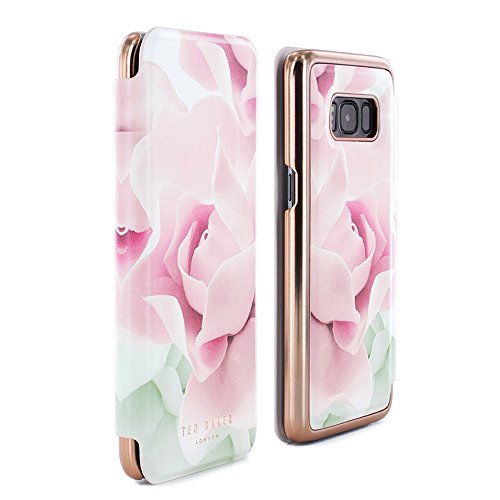 Ted Baker Luxury Folio Case/Cover in Flower Design for Women with Built-in Interior Mirror for Samsung Galaxy S8 2017 - KNOWAI - Porcelain Rose - - Porcelain Phone Style
