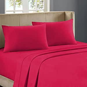 Nile Bedding Extra Luxurious Egyptian cotton Fitted Sheet 16 Inches Deep Pocket 800 TC Solid ( Cal-Queen , Hot Pink )