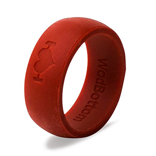 Cheap Silicone Wedding Rings for Men, Silicone Rings Perfect for Crossfit, Wods, Swimming, Sports, Outdoors. Replace Your Wedding Band with a Hypoallergenic, Medical Grade Silicone Wedding Ring. (Red, 12)