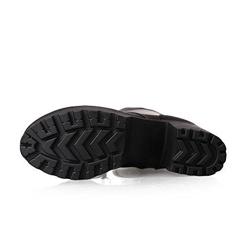 Knee Round Black Boots Toe heels Closed Blend AmoonyFashion Womens high High Materials qw88R