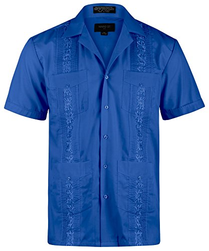 - Ward St Men's Short Sleeve Cuban Guayabera, L, 16-16.5N, Royal Blue