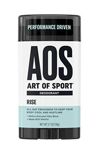 Art of Sport Men's Deodorant Clear Stick, Rise Scent, Aluminum Free, High Performance Sport Deodorant, Made with Matcha, Keeps You Cool and Fresh All Day, No Parabens, 2.7oz