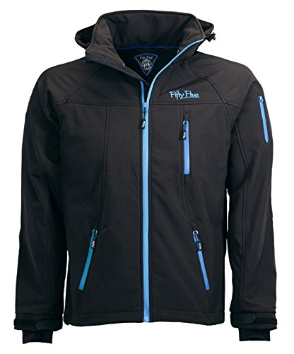 Softshell-Jacke Outdoor-Jacken Herren von Fifty Five - Alert black/royal L - FIVE-TEX Membrane für Outdoor-Bekleidung