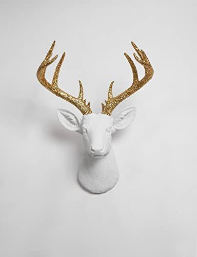White Faux Taxidermy X Large Deer Head Wall Mount, The XL Winston Deer Wall Mount Sculpture Fake Animal Head