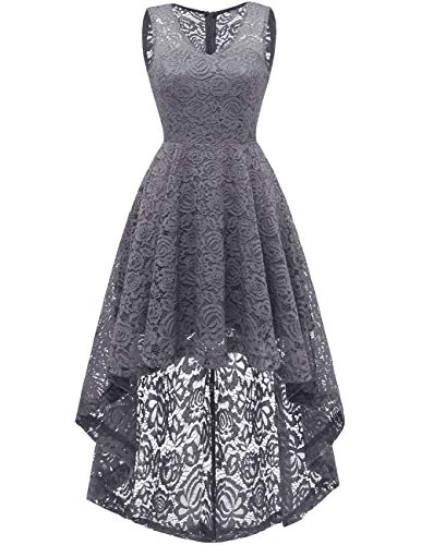 DRESSTELLS Women's Wedding Dress V-Neck Floral Lace Hi-Lo Bridesmaid Dress Grey -