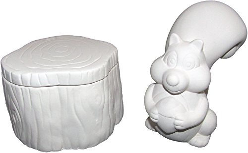 New Hampshire Craftworks Cute Squirrel and Tree Stump Box - Paint Your Own Nutty Ceramic Keepsake